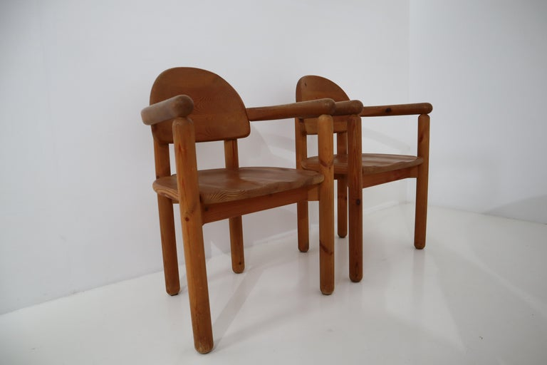 Eight Midcentury Dining Room Chairs in Pine Wood by Rainer Daumiller, 1970s For Sale 5