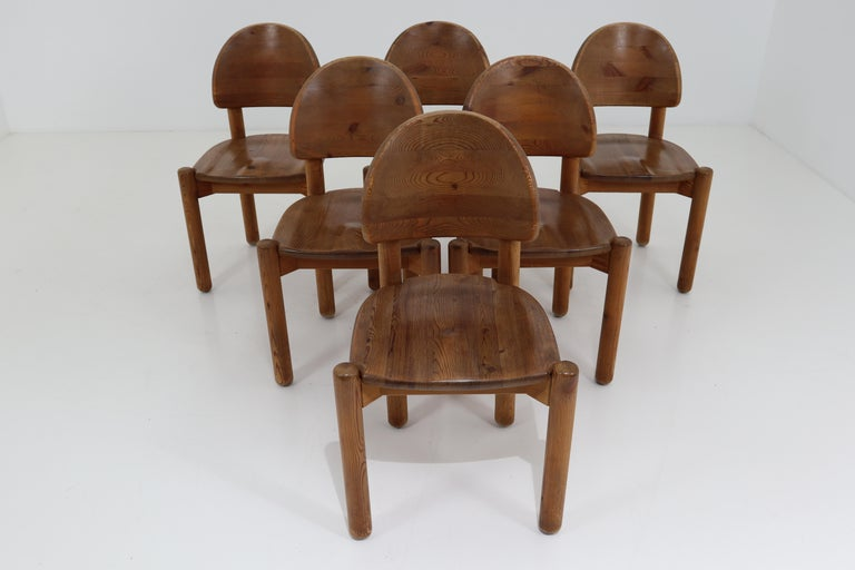 Eight Midcentury Dining Room Chairs in Pine Wood by Rainer Daumiller, 1970s For Sale 9