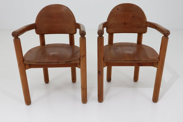 Eight Midcentury Dining Room Chairs in Pine Wood by Rainer Daumiller, 1970s For Sale 11