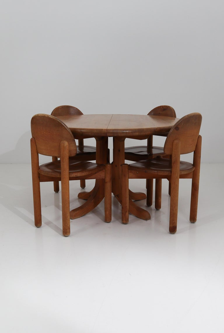 Eight Midcentury Dining Room Chairs in Pine Wood by Rainer Daumiller, 1970s For Sale 12