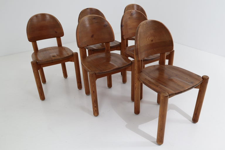 Eight Midcentury Dining Room Chairs in Pine Wood by Rainer Daumiller, 1970s For Sale 13