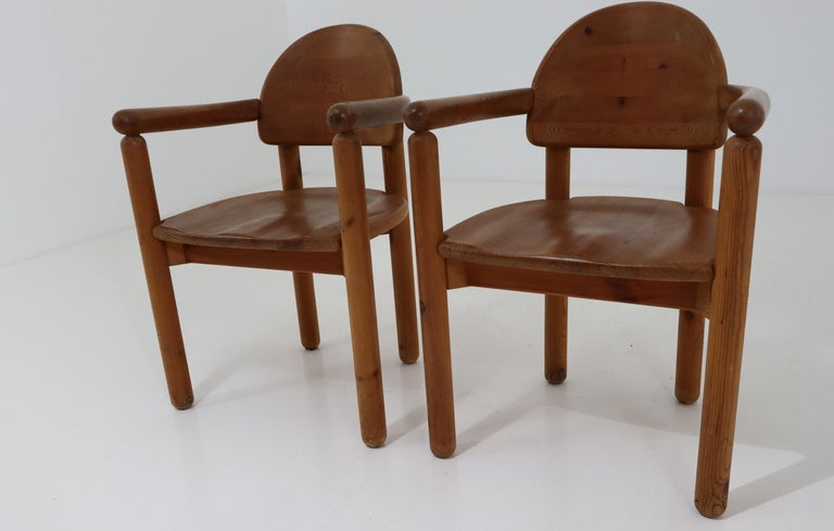 French Eight Midcentury Dining Room Chairs in Pine Wood by Rainer Daumiller, 1970s For Sale