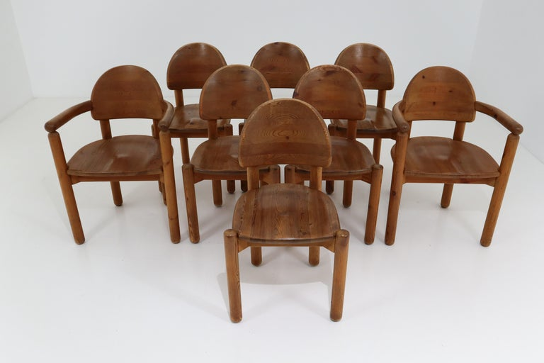 Eight Midcentury Dining Room Chairs in Pine Wood by Rainer Daumiller, 1970s For Sale 2