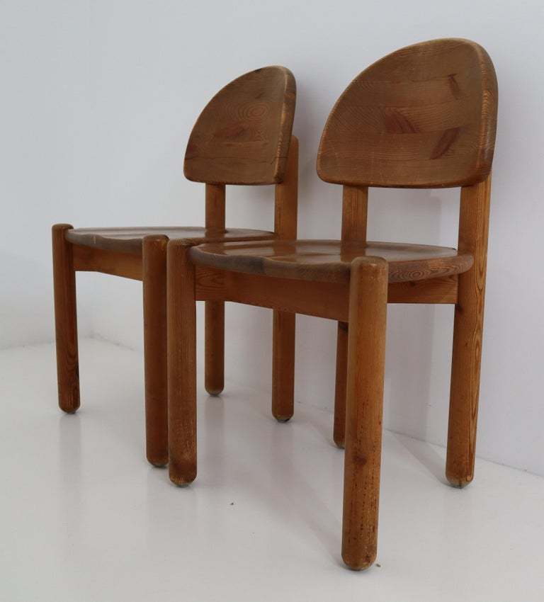 Eight Midcentury Dining Room Chairs in Pine Wood by Rainer Daumiller, 1970s For Sale 3