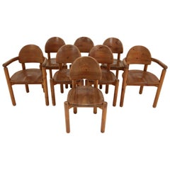 Eight Midcentury Dining Room Chairs in Pine Wood by Rainer Daumiller, 1970s