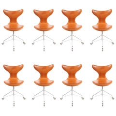 Eight Midcentury Swivel Chairs in Patinated Leather by Arne Jacobsen