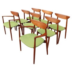 Eight Midcentury Teak Dining Chairs by Harry Ostergaard