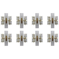 Eight Midcentury Wall Lights with Structured Glass and Brass, Europe, 1970s