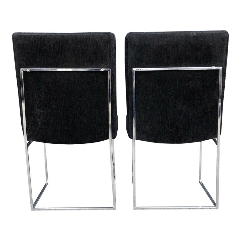 Eight Milo Baughman for Thayer Coggin Thin Chrome Dining Chairs In Good Condition For Sale In BROOKLYN, NY