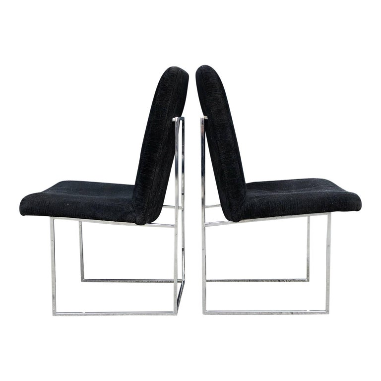 Late 20th Century Eight Milo Baughman for Thayer Coggin Thin Chrome Dining Chairs For Sale