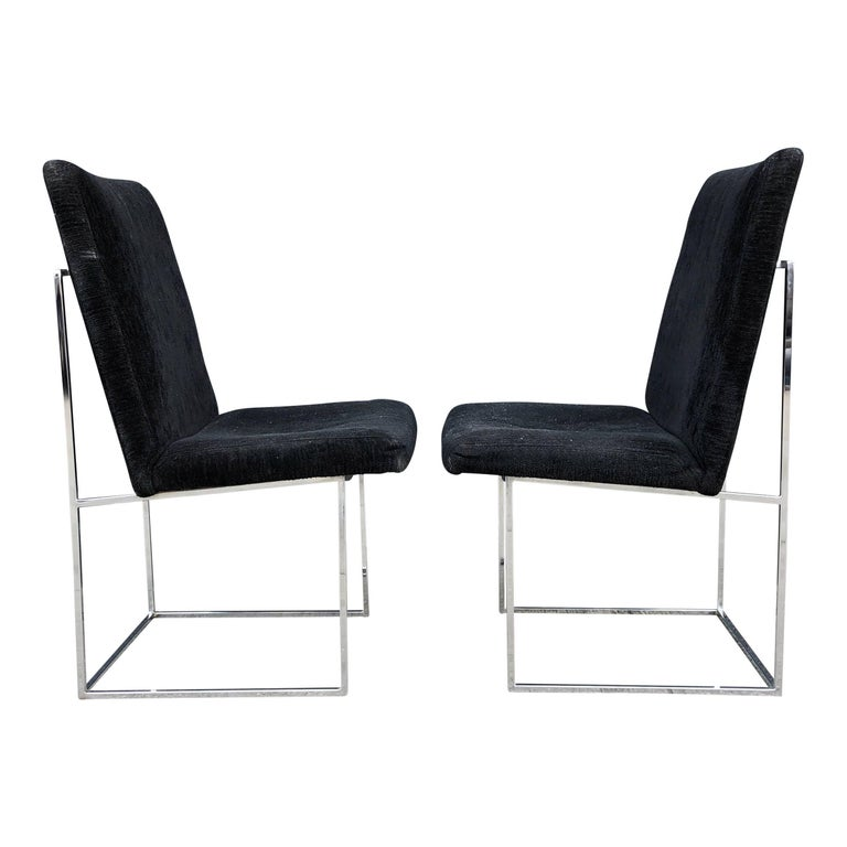 Eight Milo Baughman for Thayer Coggin Thin Chrome Dining Chairs For Sale 3