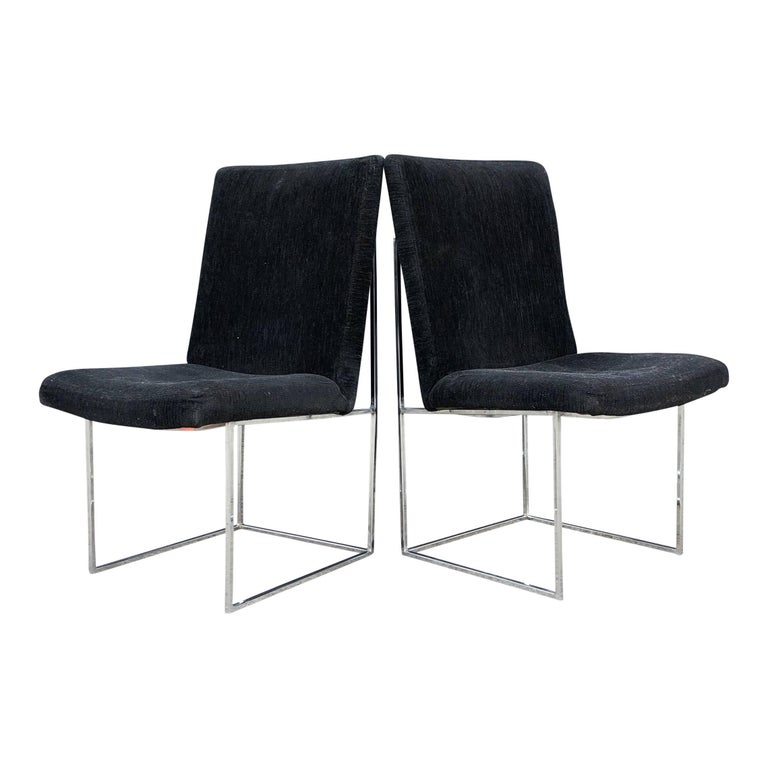Eight Milo Baughman for Thayer Coggin Thin Chrome Dining Chairs For Sale