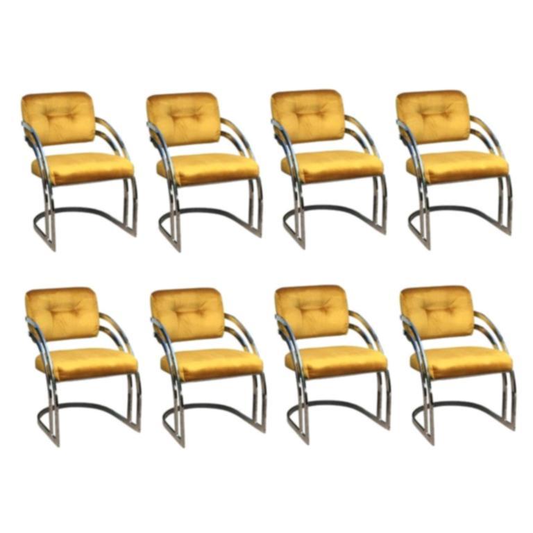 Eight Milo Baughman Style Chrome Dining Chairs