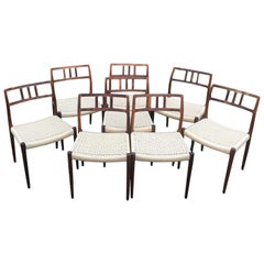 Eight Model 79 Chairs by Niels Otto Moller for J.L. Moller with Papercord Seats