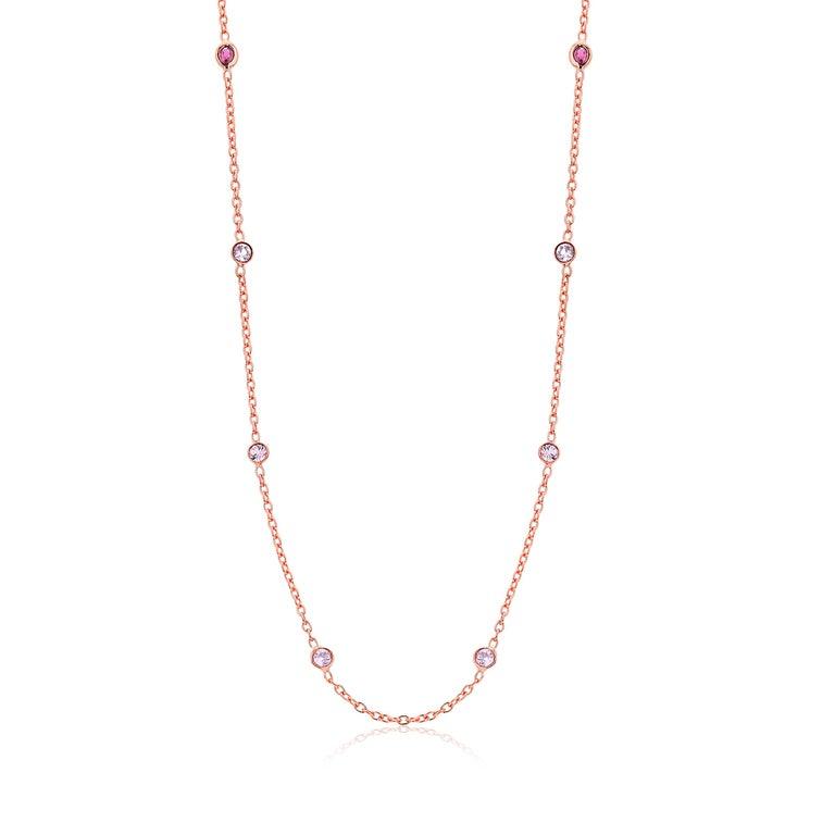 Sterling Silver 8 stations bezel set necklace pendant  Rose gold plated Necklace 16