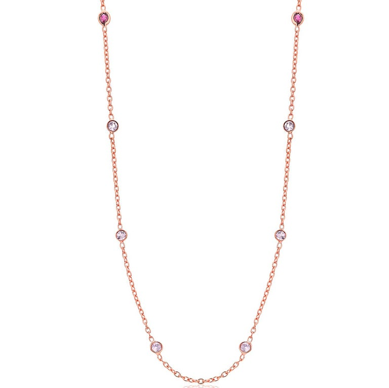 Contemporary Eight Natural Pink Sapphires and Rubies Bezel Necklace Silver Rose Gold Plated For Sale