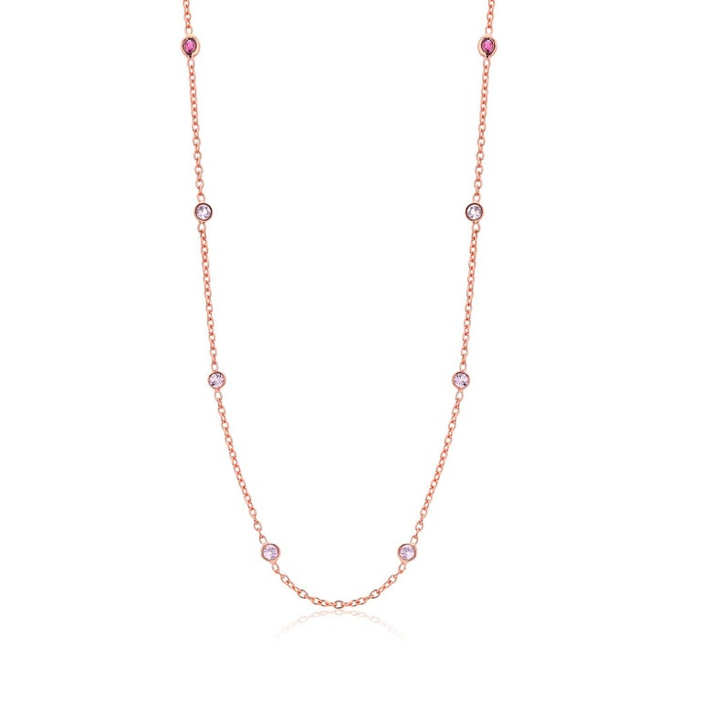 Round Cut Eight Natural Pink Sapphires and Rubies Bezel Necklace Silver Rose Gold Plated For Sale