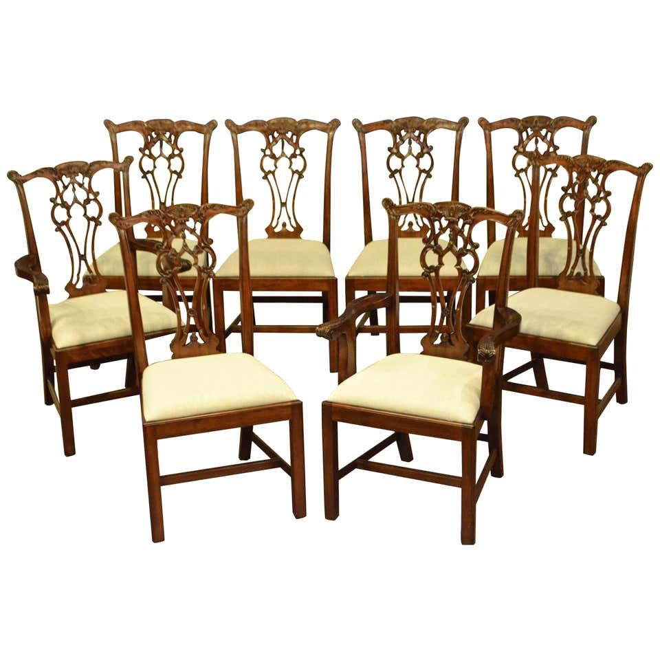Eight New Chippendale Style Straight a Leg Dining Chairs by Leighton Hall