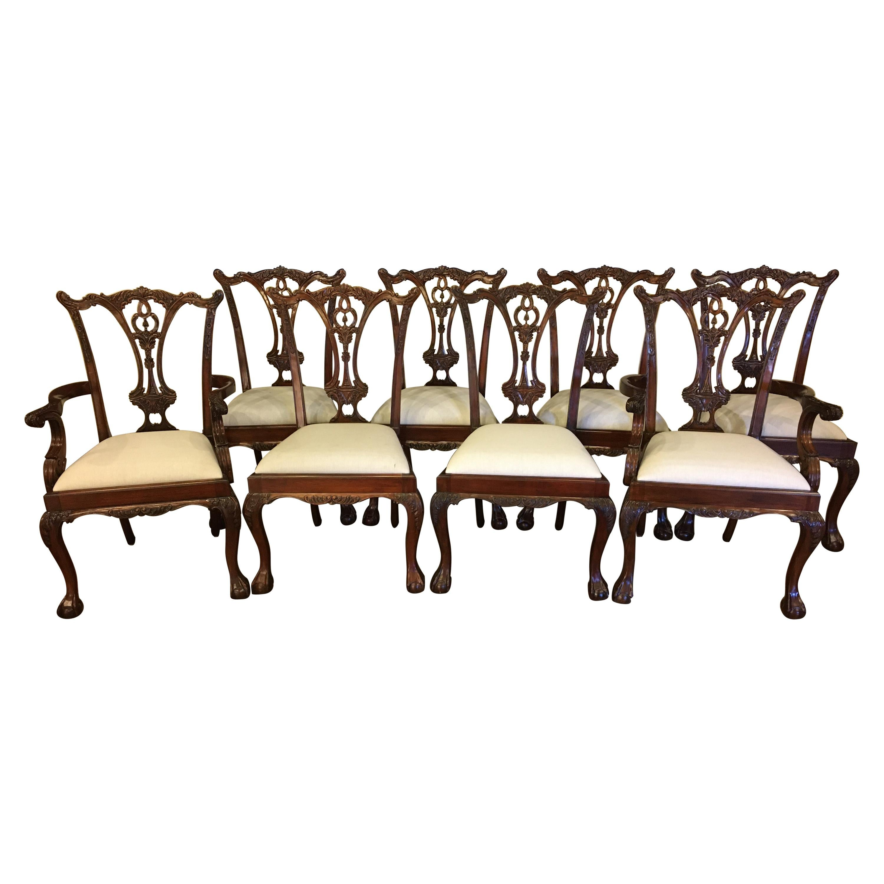 Eight New Mahogany Chippendale Ball and Claw Dining Chairs by Leighton Hall