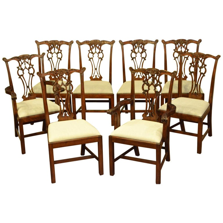 Chippendale Mahogany Dining Room Chairs: Eight New Mahogany Chippendale Style Straight Leg Dining