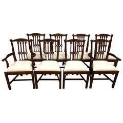 Eight New Mahogany Gothic Chippendale Style Dining Chairs by Leighton Hall