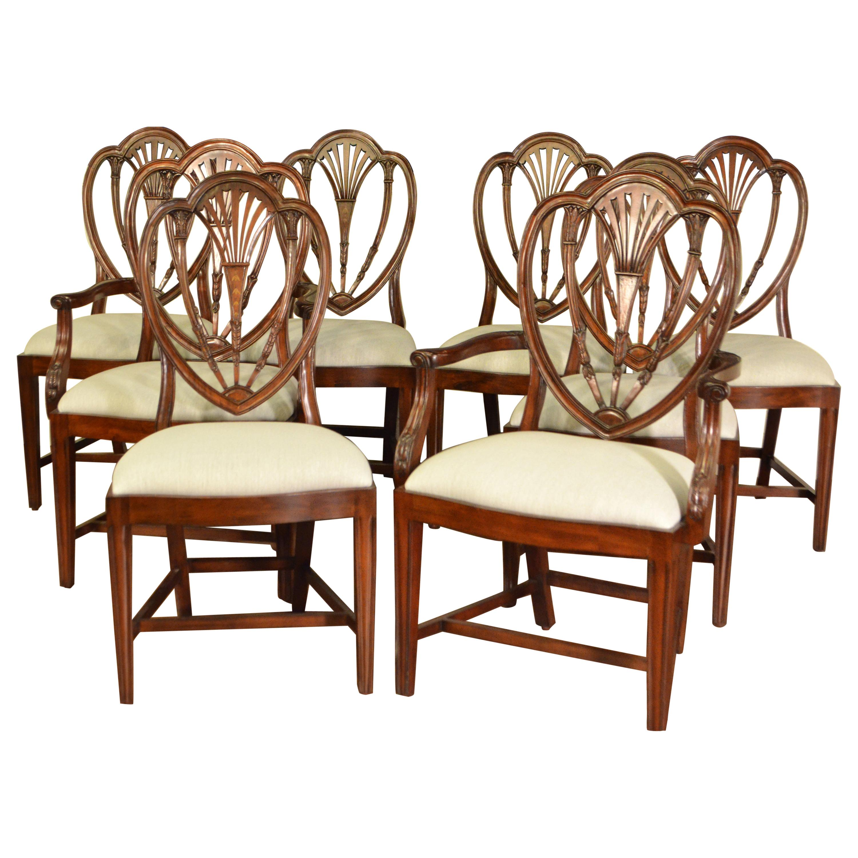 Eight New Mahogany Hepplewhite Style Dining Chairs by Leighton Hall