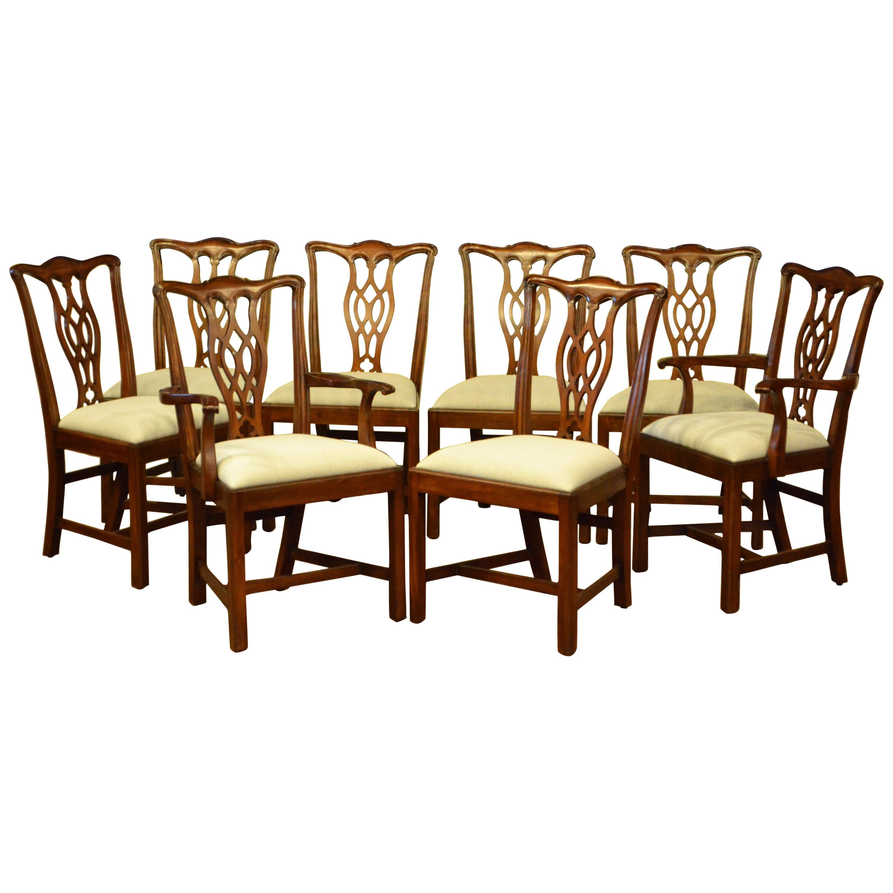 Eight New Mahogany Straight Leg Chippendale Style Dining Chairs by Leighton Hall