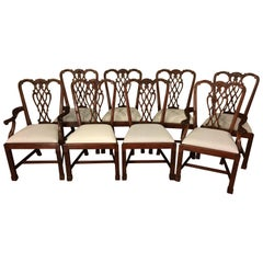 Eight New Straight Leg Chippendale Style Dining Chairs by Leighton Hall