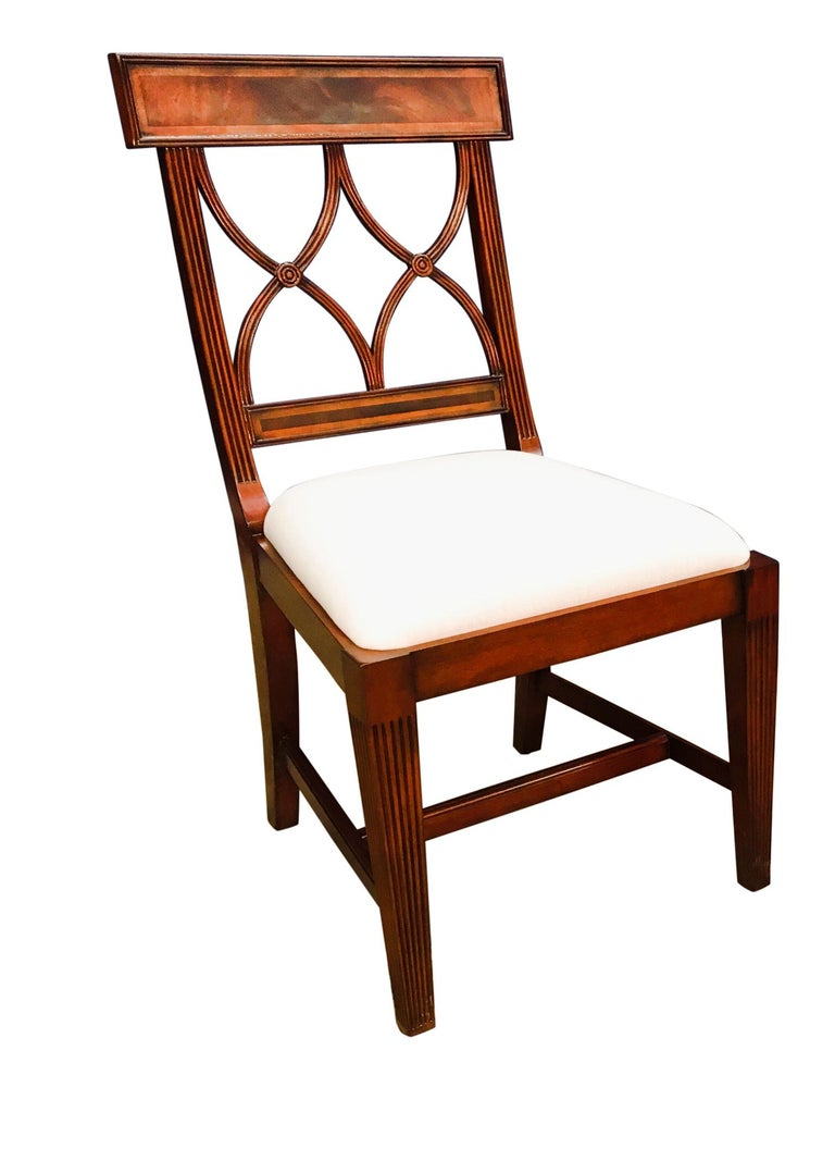 Eight New Traditional Mahogany Adams Style Dining Chairs by Leighton Hall For Sale 4