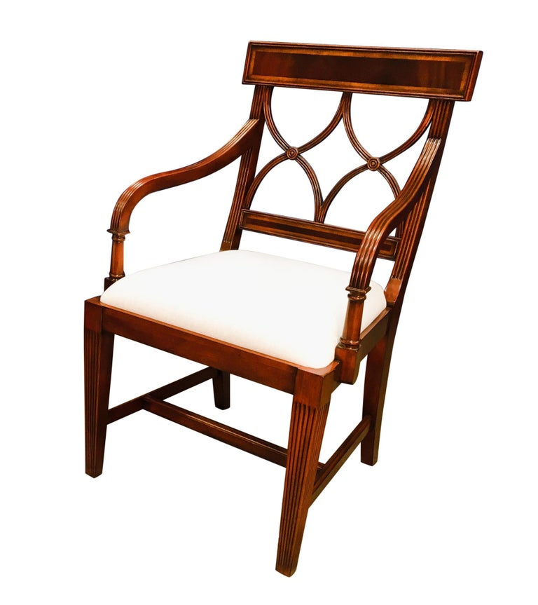 Eight New Traditional Mahogany Adams Style Dining Chairs by Leighton Hall For Sale 5