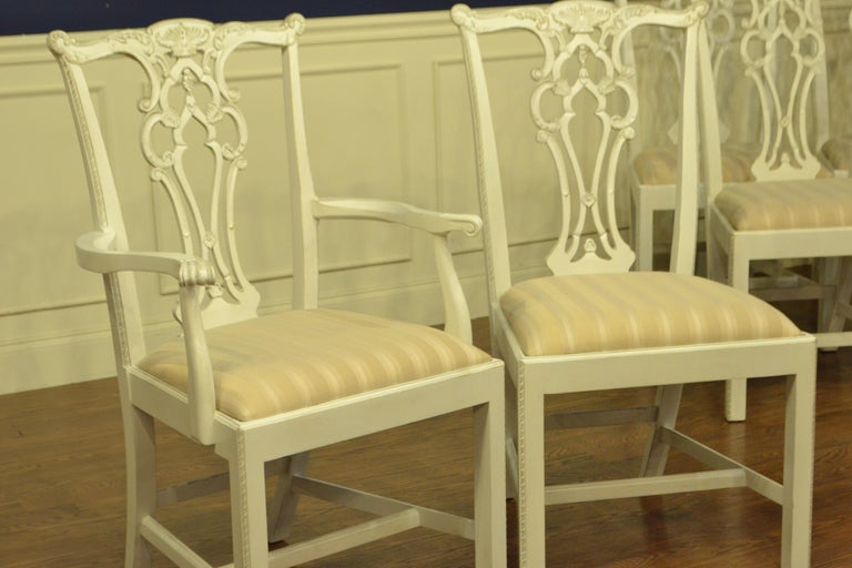 Eight New Traditional Mahogany Adams Style Dining Chairs by Leighton Hall For Sale 6