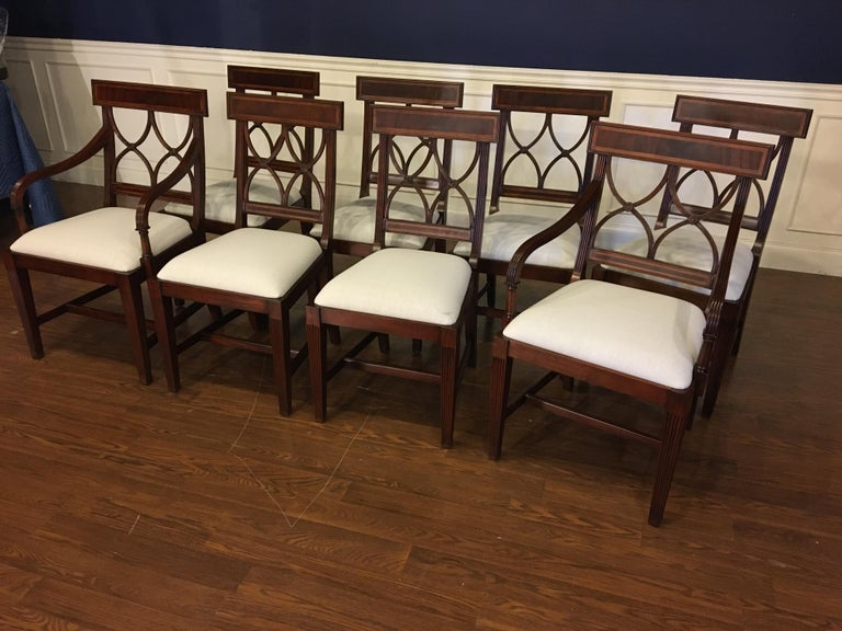 Regency Eight New Traditional Mahogany Adams Style Dining Chairs by Leighton Hall For Sale