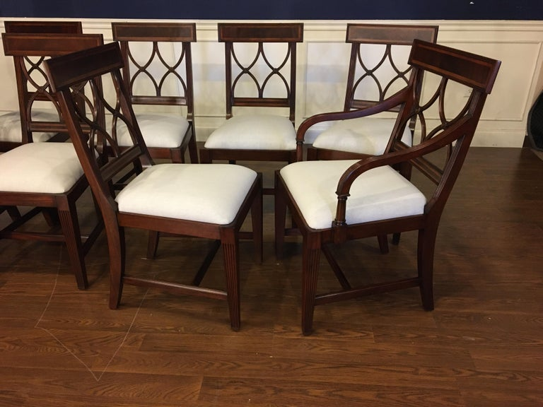 American Eight New Traditional Mahogany Adams Style Dining Chairs by Leighton Hall For Sale