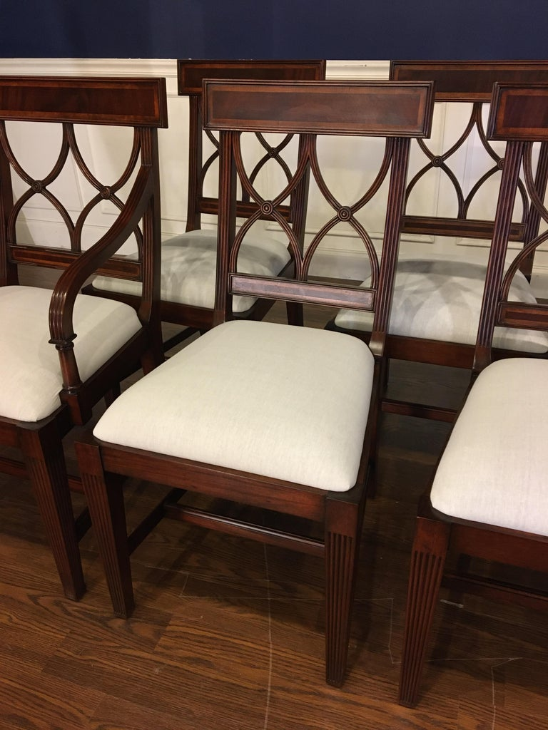 Eight New Traditional Mahogany Adams Style Dining Chairs by Leighton Hall For Sale 1