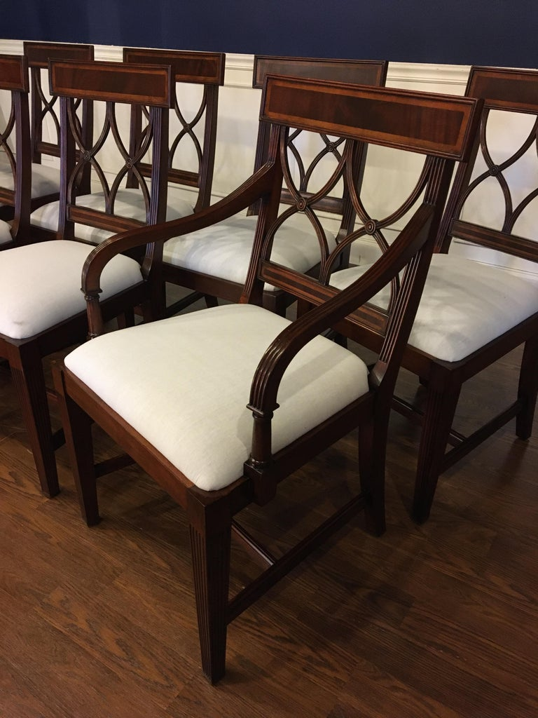 Eight New Traditional Mahogany Adams Style Dining Chairs by Leighton Hall For Sale 2
