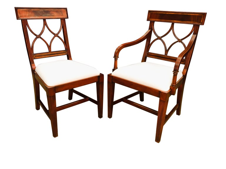 Eight New Traditional Mahogany Adams Style Dining Chairs by Leighton Hall For Sale 3