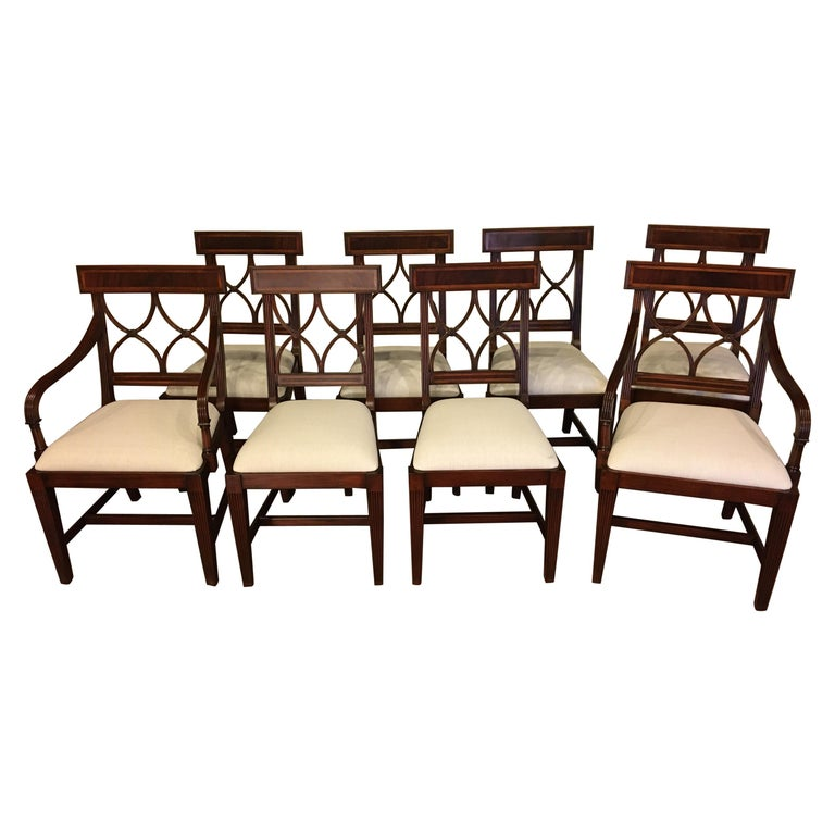 Eight New Traditional Mahogany Adams Style Dining Chairs by Leighton Hall For Sale