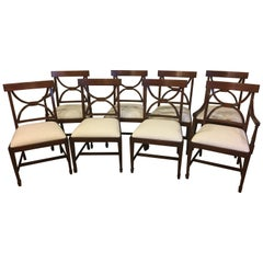 Eight New Traditional Mahogany Adams Style Inlaid Dining Chairs by Leighton Hall