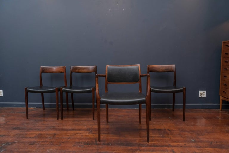Scandinavian Modern Eight Niels O. Møller Model 80 and 77 Rosewood Dining Chairs For Sale
