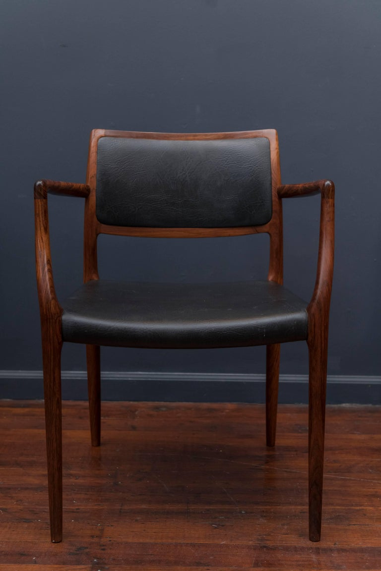 Danish Eight Niels O. Møller Model 80 and 77 Rosewood Dining Chairs For Sale