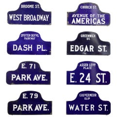 Eight NYC, New York Porcelain over Metal Enamel Street Signs