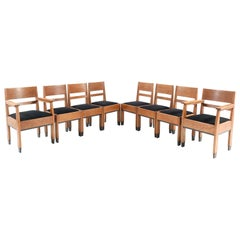 Eight Oak Art Deco Haagse School Chairs by H. Fels for L.O.V. Oosterbeek, 1924