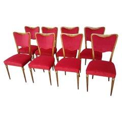Eight Osvaldo Borsani Dining Room Chairs Newly Upholstered Red Velvet