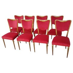 Eight Osvaldo Borsani Dining Room Chairs Restored, Red Velvet, Brass Decor