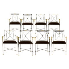 Eight Outstanding Italian Steel and Brass Armchairs 1970s
