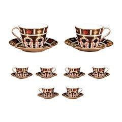 Eight Pairs of English Royal Crown Derby Porcelain Old Imari Cups and Saucers