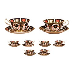Eight Pairs of Old Imari English Royal Crown Derby Porcelain Cups and Saucers