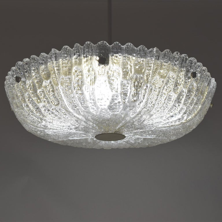 Eight-Panel Pendant Lamp by Carl Fagerlund for Orrefors In Good Condition For Sale In Dallas, TX