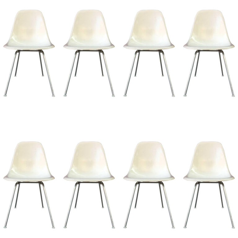 Eight Parchment Herman Miller Eames Dining Chairs For Sale