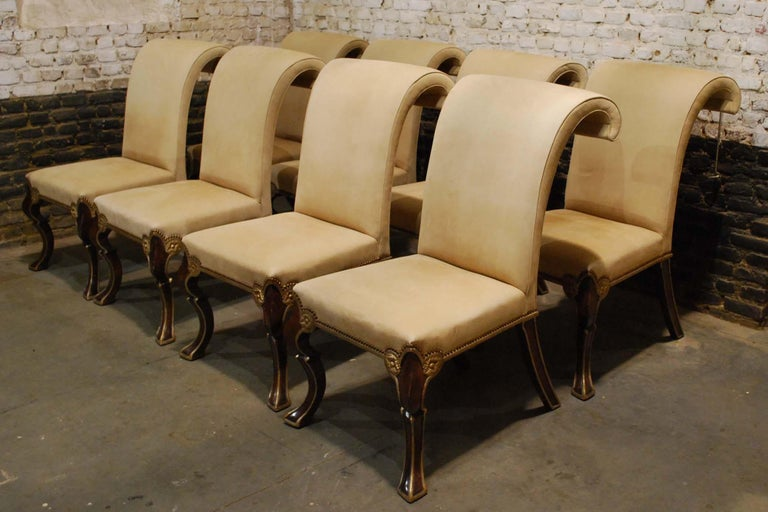 An exclusive and large set of eight handmade Puccini dining chairs by Rose Tarlow Melrose House.